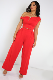 Red Pleated Wide Leg Pants Plus Sizes