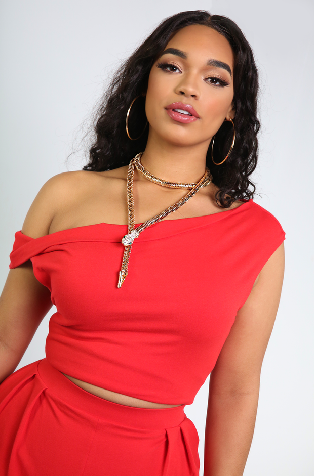 Red Drop Shoulder Top Plus Sizes