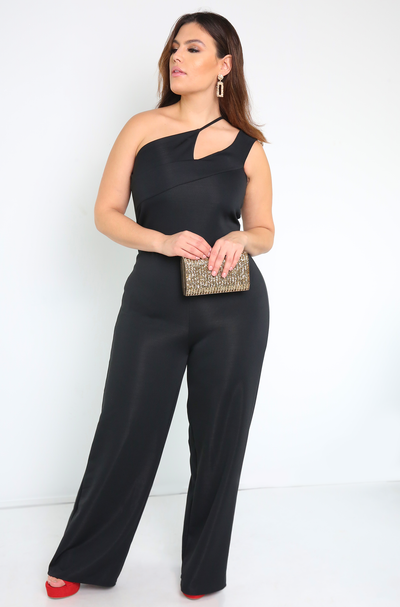 Black Asymmetrical Wide Leg Jumpsuit Plus Sizes