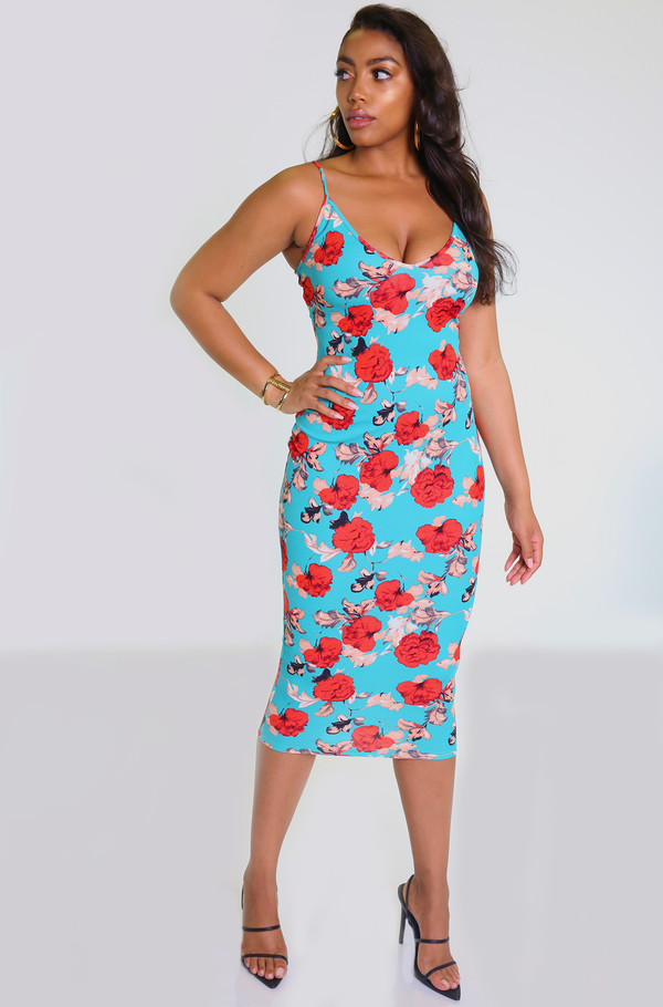 Turquoise Floral Bodycon Midi Dress Plus Sizes