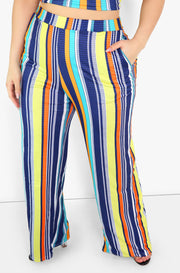 Blue Striped Wide Leg Pants Plus Sizes
