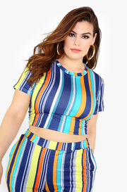 Blue Striped T-Shirt Crop Top Plus Sizes