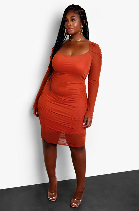 Rust Red Ruched Puff Shoulder Midi Dress Plus Sizes