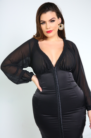 Black Hook and Eye Bandage Mini Dress Plus Sizes
