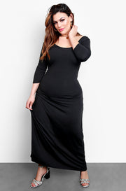 Black Long Sleeve Bodycon Maxi Dress Plus Sizes