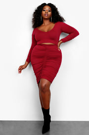 Burgundy V-Neck Crop Top & Mini Skirt Set