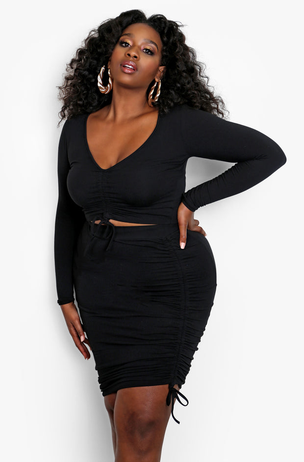 Black Ruched V-Neck Mini Skirt Set