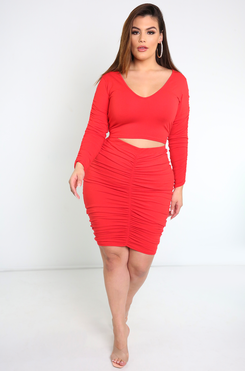 Red V-Neck Ruched Sleeves Crop Top Plus Sizes
