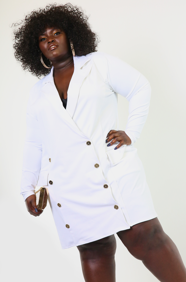 White Blazer Mini Dress Plus Sizes