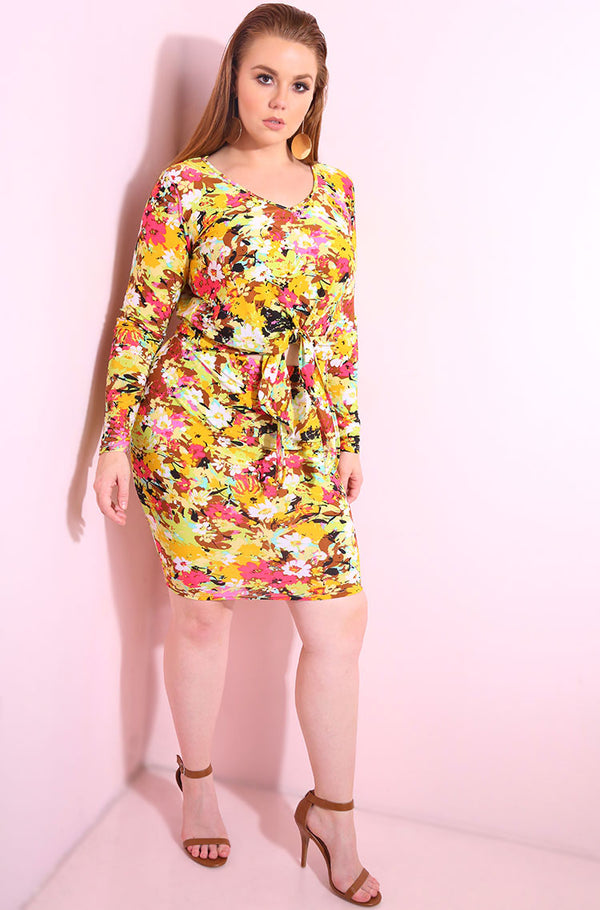 Yellow Floral print, front tie, long sleeve crop top plus sizes