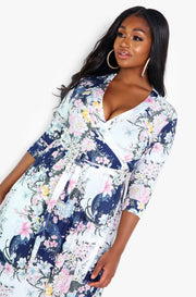 White Floral Wrap Maxi Dress Plus Sizes