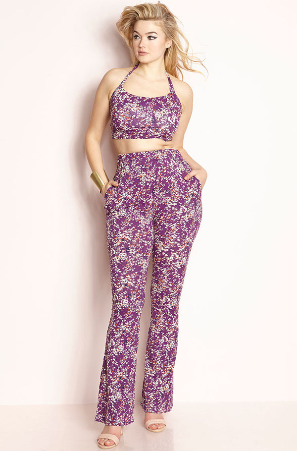 Purple Bell Bottom Two Piece Set With Pockets plus sizes