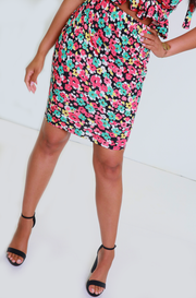 Coral Bodycon Mini Skirt Plus Sizes