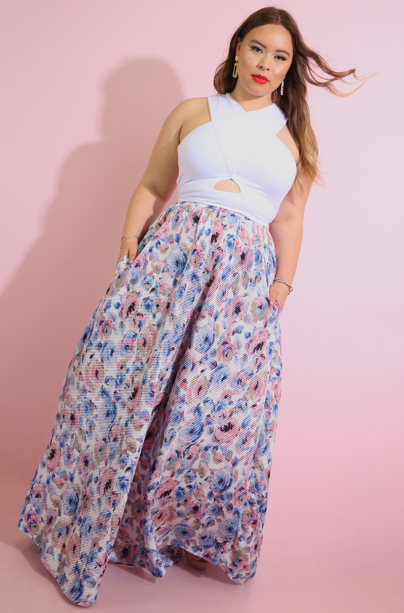 Blue Skater Maxi Skirt With Pockets Plus Sizes