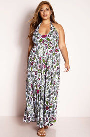 Green Halter Skater Maxi Dress plus sizes