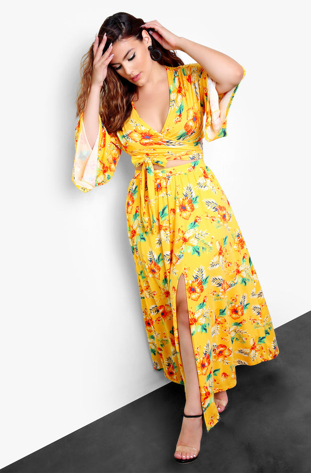 Yellow Kimono Maxi Skirt With Slit Plus Size