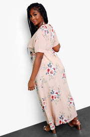 Sand Floral Wrap Maxi Dress Plus Sizes