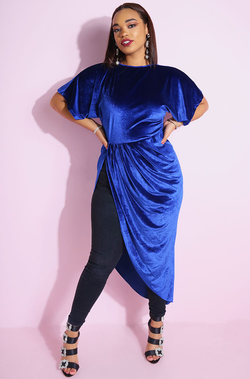 Royal Blue Velvet Ruched Maxi Top with kimono flutter sleeves plus sizes
