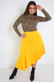 Golden Yellow Ruffled Midi Skirt Plus Sizes