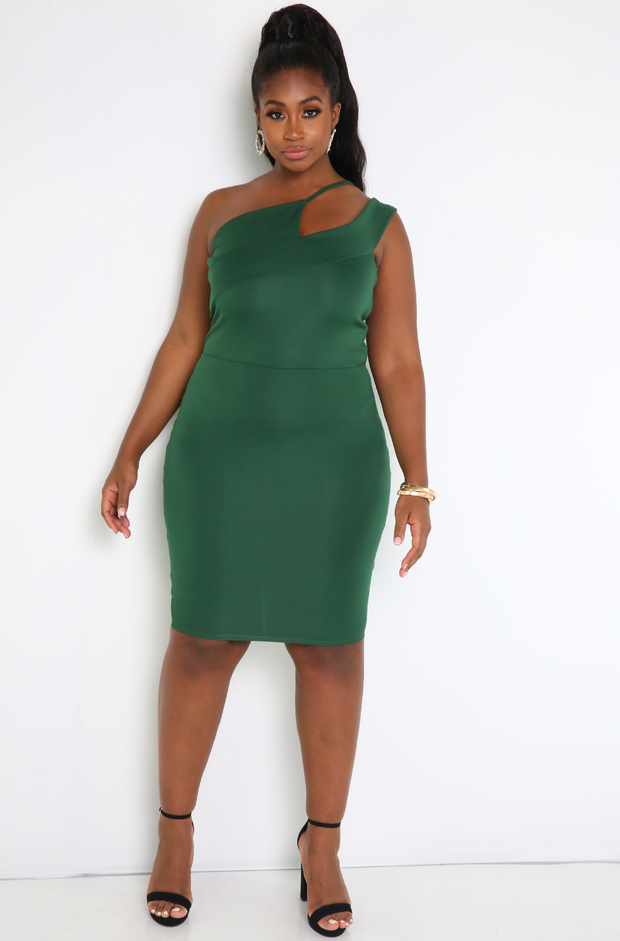 Emerald Green Asymmetrical Neckline Bodycon Mini Dress Plus Sizes