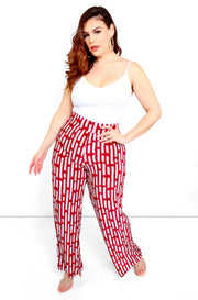 Burgundy Printed High Waist Wide Leg Pants Plus Size
