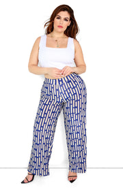 Blue Printed High Waist Wide Leg Pants Plus Size