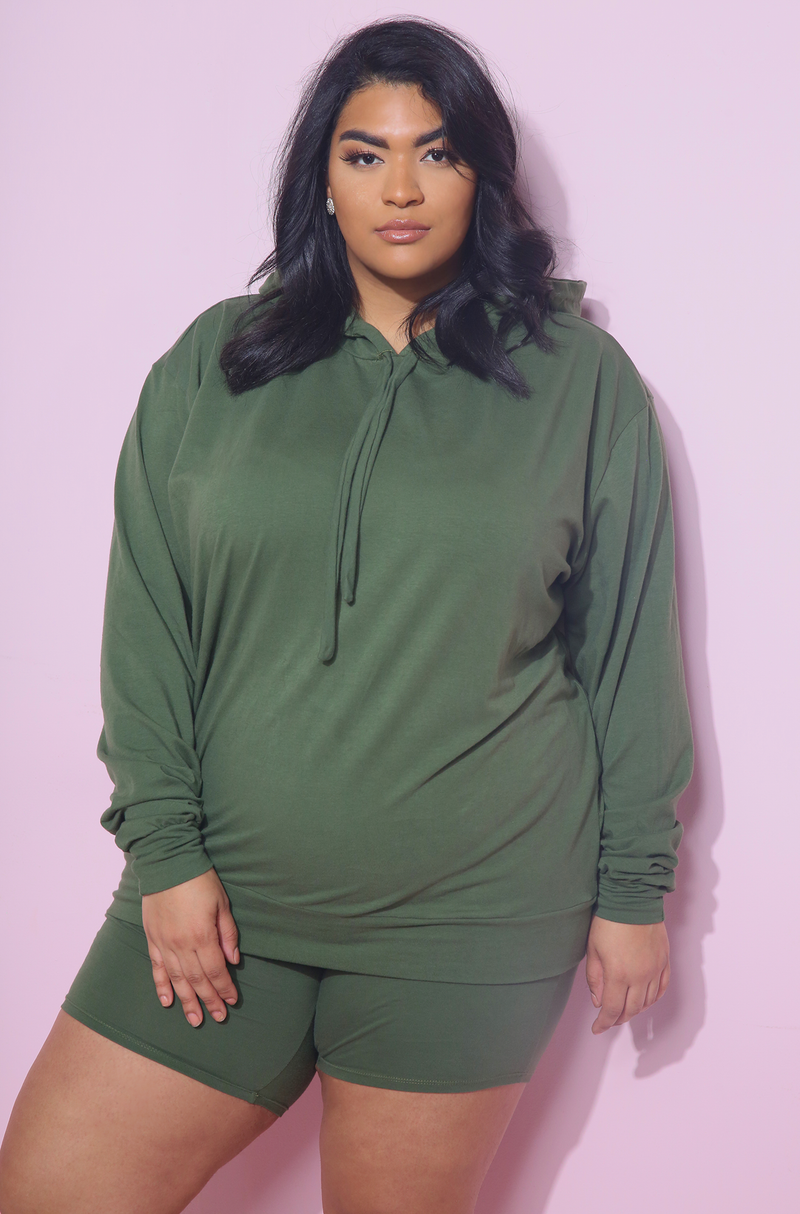Olive Hooded Top Plus Sizes