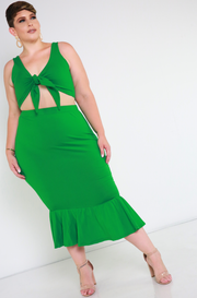 Green Mermaid Hem Bodycon Midi Skirt Plus Sizes