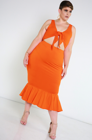 Orange Tied Crop Top Plus Sizes