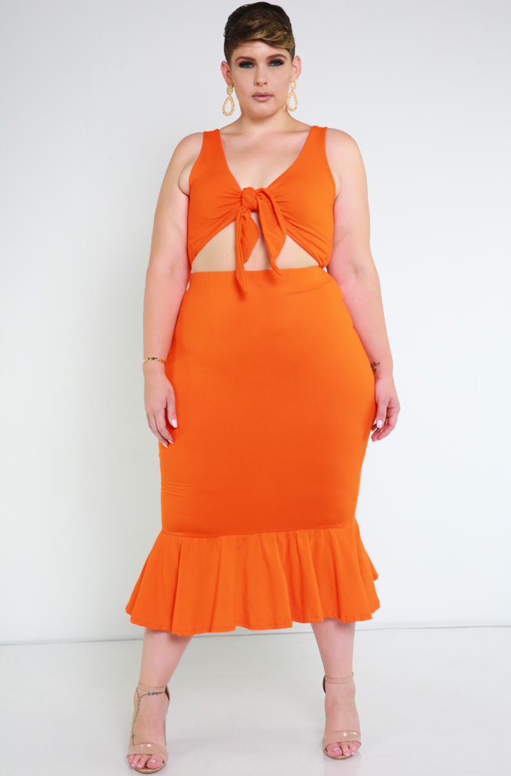 Orange Mermaid Hem Bodycon Midi Skirt Plus Sizes