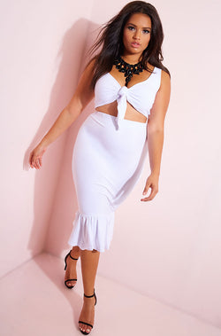 White Mermaid Hem Bodycon Midi Skirt plus sizes