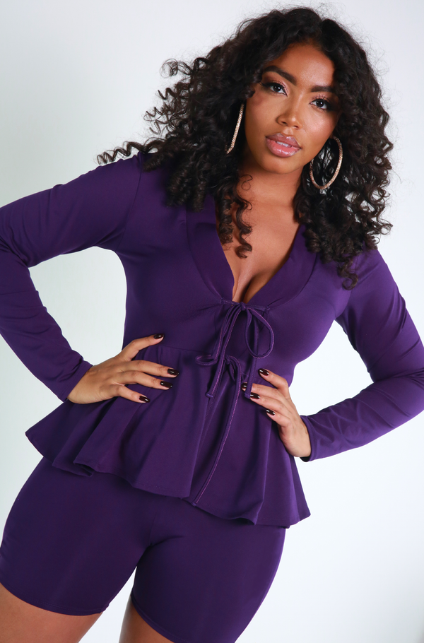 Purple Peplum Blazer & Short Set Plus Sizes
