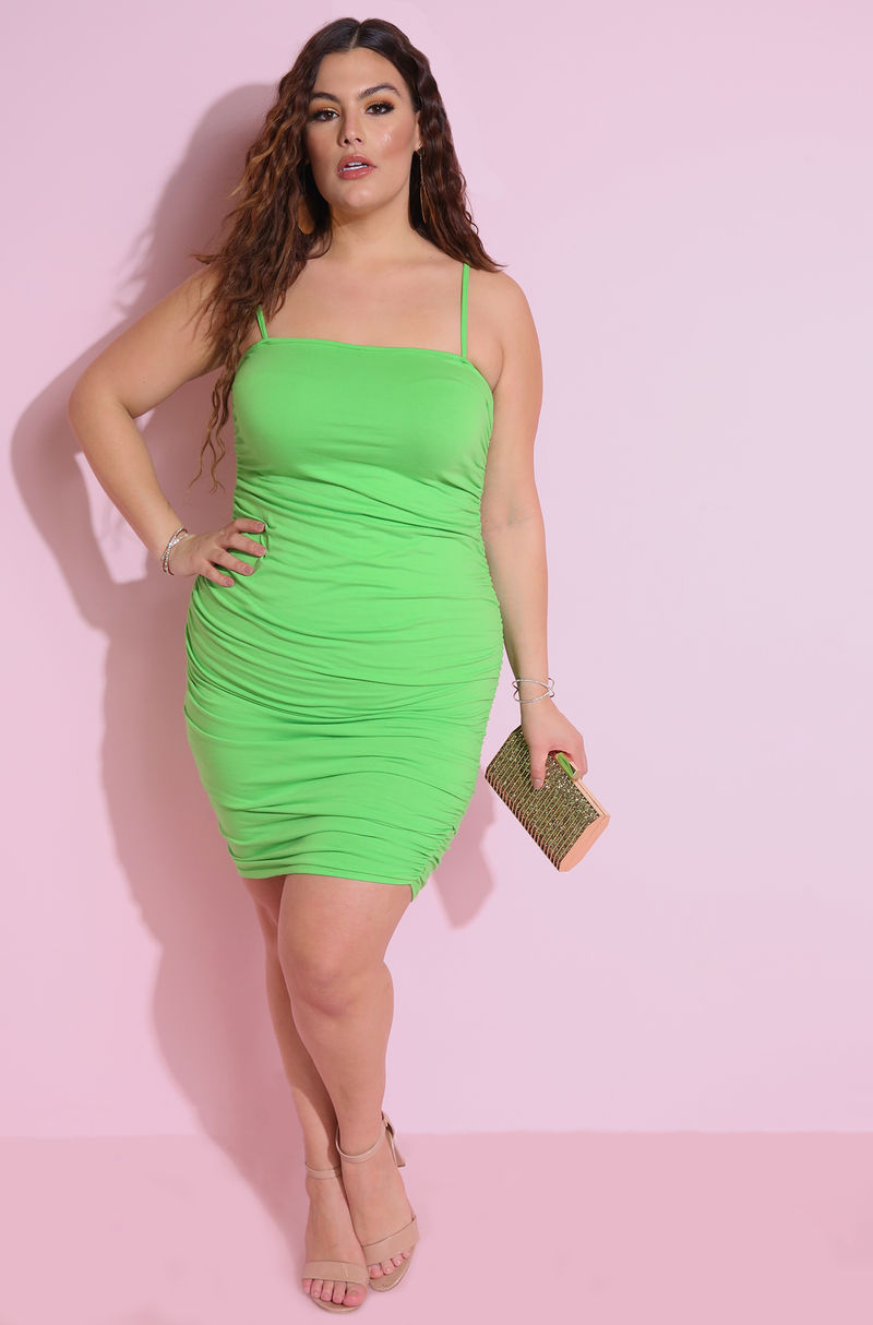 Lime Green Ruched Mini DressPlus Sizes