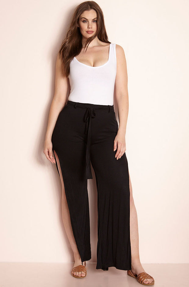 Black Side Slit Pant Plus Sizes