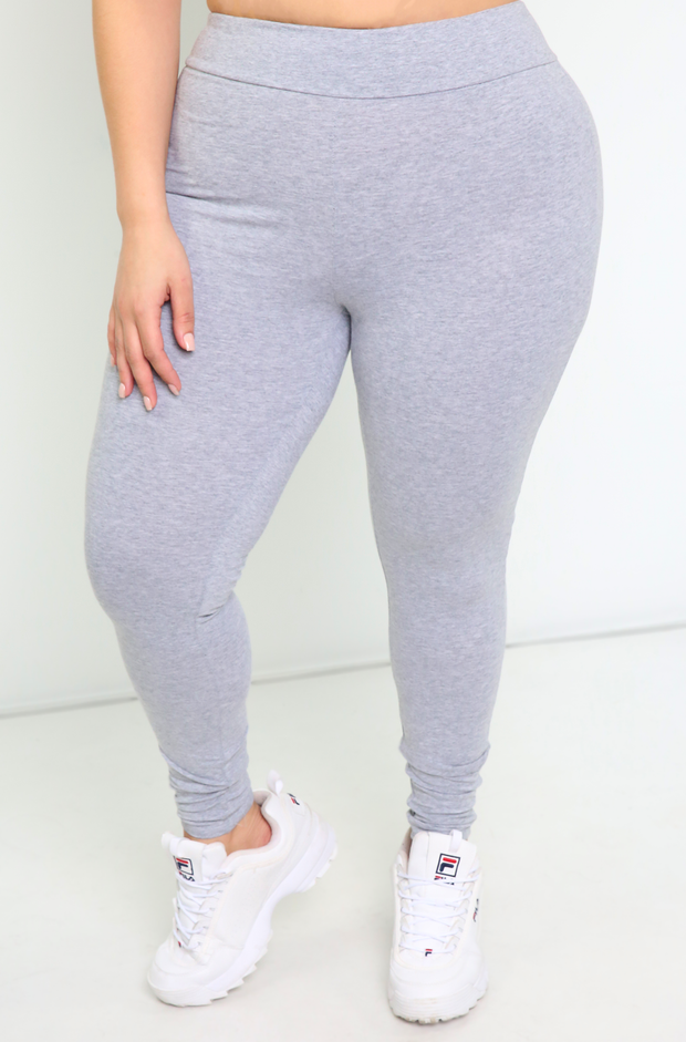 Gray High Waist Soft Band Leggings Plus Sizes