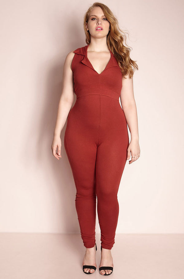 Rust Red Collared Jumpsuit Final Sale plus sizes