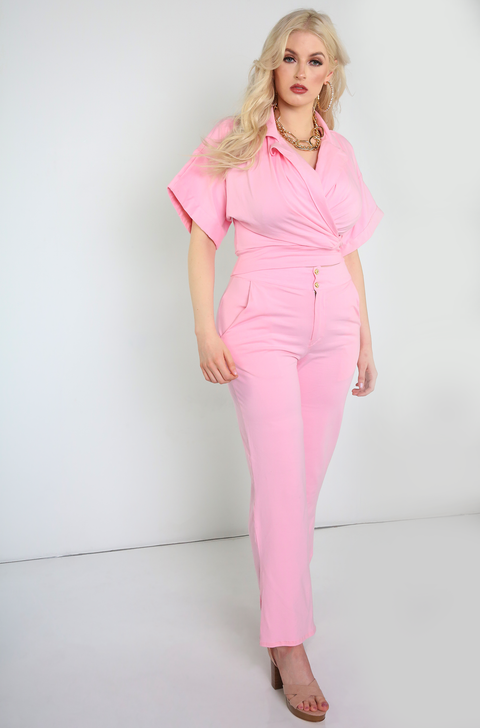 Pink Pants With Pockets Plus Sizes
