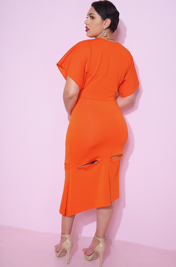 Orange Flutter Sleeves A-Line Midi with cut-out on thigh Dress plus sizes