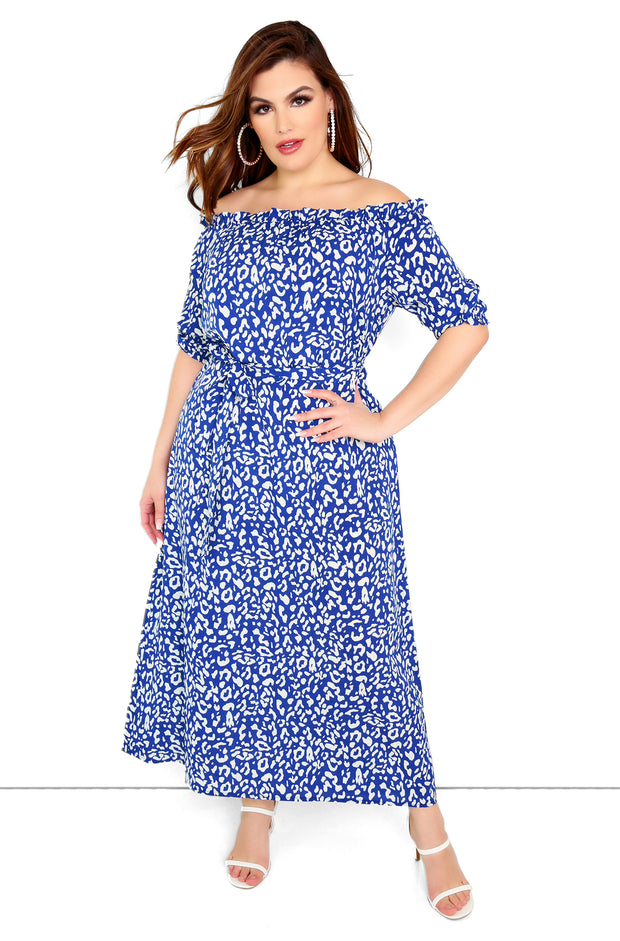 Navy Blue Over The Shoulder Leopard Maxi Dress Plus Sizes
