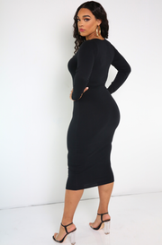 Black Zip Front Bodycon Midi Dress Plus Sizes