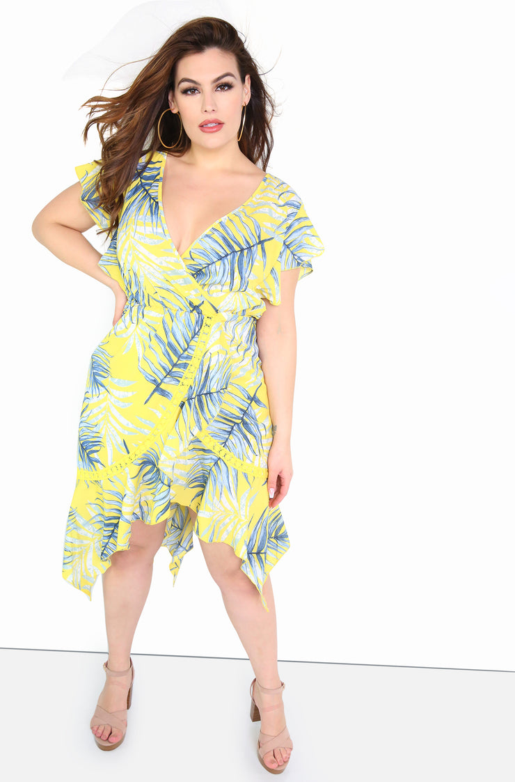 Yellow Floral Ruffle Hem Midi Dress Plus Sizes