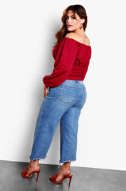 Burgundy Over The Shoulder Peasant Top Plus Sizes
