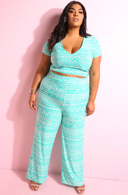 Mint Aztec print v-neck short sleeve crop top with matching wide leg pant plus sizes