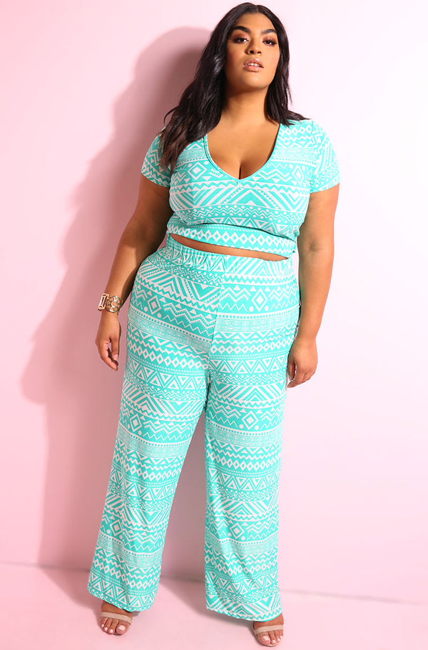 Aztec print v-neck short sleeve crop top with matching wide leg pant plus sizes