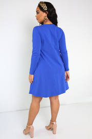 Royal Blue Caged Long Sleeve Aline Mini Dress