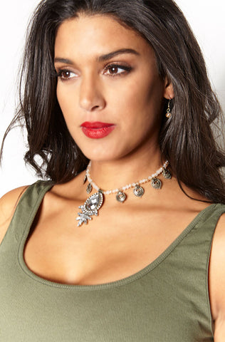 "Rebdolls ""Chained Up"" Stone Layered Necklace"