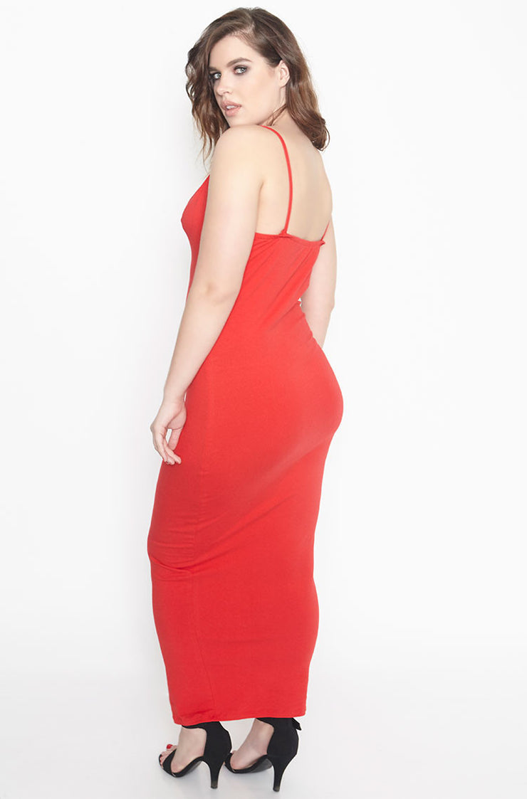 Red Strappy Bodycon Maxi Dress Plus Size