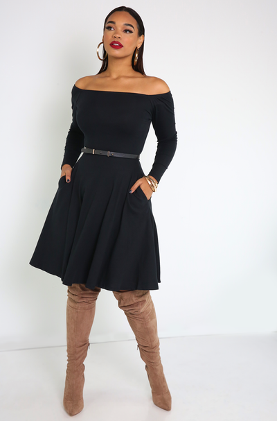 Black Over The Shoulder Skater Mini Dress Plus Sizes