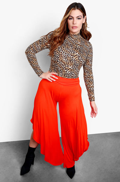 Red Wide Leg Flare Pants
