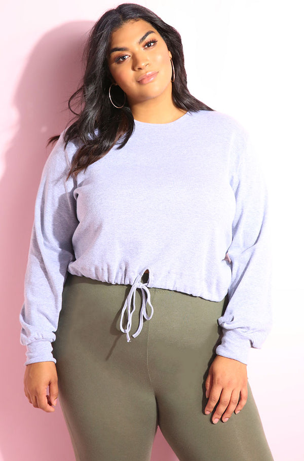 Relaxed fit long sleeve heather gray ribbed crop top plus sizes